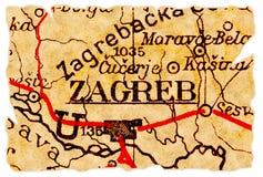 De oude kaart van Zagreb stock afbeelding