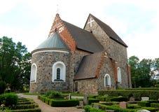 De Oude Kerk van Gamlauppsala Kyrka in de Oude Stad van Uppsala, Zweden Stock Foto's