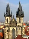 De oude Kerk van Praag van Onze Dame vóór Tyn Royalty-vrije Stock Foto's