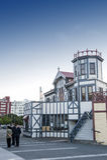 De oude klassieke die bouw op de waterkant van Wellington nu als Wellington Rowing Club wordt gediend royalty-vrije stock foto