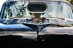 De oude klassieke zwarte details van de autoinham Stock Foto