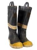 De oude Laarzen van de Brand Royalty-vrije Stock Foto