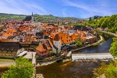 De oude landelijke stad van Ceskykrumlov, Tsjechische Republiek Royalty-vrije Stock Afbeelding
