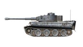 De oude legertank, het uitstekende gepantserde militaire voertuig met kanon en het torentje dat op witte achtergrond, 3D zijaanzi vector illustratie