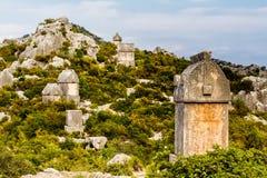De oude Lycian-graven van de begraafplaats in Simena Royalty-vrije Stock Fotografie