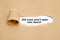 De oude Manieren zullen geen Nieuw Deurencitaat openen royalty-vrije stock foto