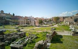 de oude markt in het centrum van Athene, ruïnes van de markt geeft een beeld van hoe het op tijd achter was royalty-vrije stock afbeelding