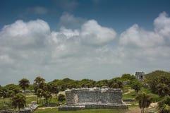 De Oude Mayan Ruïnes in Tulum Mexico Royalty-vrije Stock Afbeeldingen