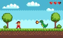 De de oude Mens en Draak van het Pixelspel met Brandvector royalty-vrije illustratie