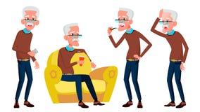 De oude Mens stelt Vastgestelde Vector Bejaarde mensen Hogere persoon oud Grappige Gepensioneerde leisure Prentbriefkaar, Aankond stock illustratie
