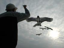 De oude mens vliegt een vlieger Royalty-vrije Stock Foto