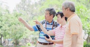 De oude mensen gaan reis stock foto's