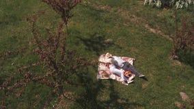 De oude mensen hebben een picknick bij de deken in park Het schieten van de hommel stock footage