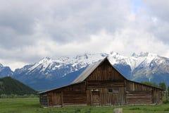 De oude Mormoonse schuur in Tetons royalty-vrije stock foto