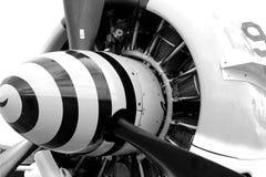 De oude motor van het vechtersvliegtuig Stock Afbeeldingen
