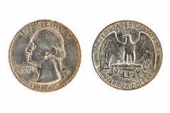 De oude muntstukken van de het kwartdollar van Amerika door het gebruik van handel voor stock afbeeldingen
