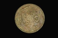 De oude muntstukken van Turkije, vijfentwintig centen, jaar1960old munt van de Ottomaneperiode stock foto