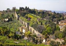 De oude Muren van de Stad van Florence stock fotografie