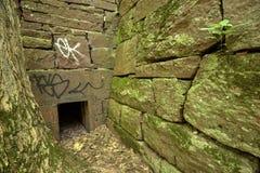 De oude muren van het zandsteenblok van krachtcentrale, Manchester, Connecticut royalty-vrije stock afbeeldingen