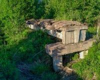 de oude onvolledige vernietigde smal-maatspoorweg op beton blokkeert het overgaan door een bosmoerasclose-up stock afbeeldingen
