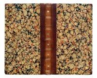 De oude open boekdekking met abstract patroon isoleert op witte achtergrond Abstracte uitstekende decoratie 19de eeuw stock fotografie