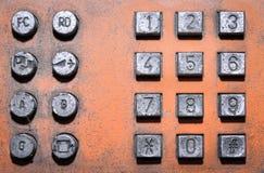 De oude openbare telefoon van het knoopaantal Stock Afbeelding
