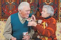 De oude oude man van het vrouwenvoer Royalty-vrije Stock Fotografie