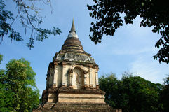 De oude pagode van Lanna in Thaise tempel Stock Afbeeldingen