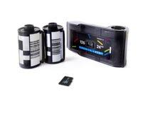 De oude Patronen van de Filmcamera & Micro- BR Kaart Royalty-vrije Stock Foto's