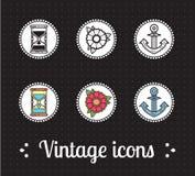 De oude pictogrammen van de schooltatoegering Royalty-vrije Stock Afbeeldingen