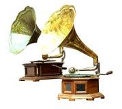 De oude platenspeler en de grammofoon royalty-vrije stock foto's