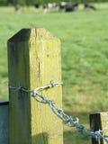 De oude post van de prikkeldraadomheining door landbouwbedrijf Stock Afbeelding