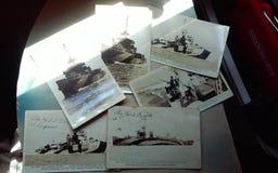 De oude prentbriefkaaren van de oorlogsmarine stock foto's