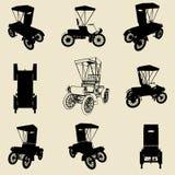 De oude reeks van het autosilhouet Stock Afbeeldingen