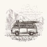 De oude retro illustratie van de reisbus Vector EPS10 Royalty-vrije Stock Foto's