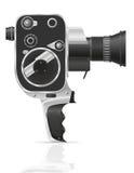De oude retro uitstekende vectorillustratie van de filmvideocamera Stock Afbeeldingen