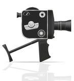 De oude retro uitstekende vectorillustratie van de filmvideocamera Stock Afbeelding