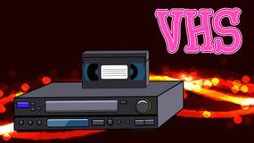De oude retro videorecorder van wijnen antieke analoge hipster met magnetische videoband VHS op de abstracte energieachtergrond stock illustratie