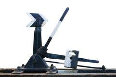 De oude roestige spoorwegpunten schakelen hand mechanisch Royalty-vrije Stock Afbeelding