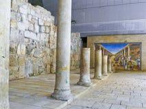 De oude Roman Cardo-straat Jeruzalem dit maakt deel uit van cardo, stock afbeeldingen
