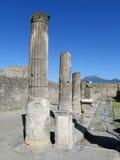 De oude Roman ruïnes van Pompei - de muren en de kolommen van Pompei Scavi Stock Foto