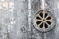 De oude ronde van de het patroondecoratie van de steenversiering wind van de de kerkrozet Royalty-vrije Stock Afbeelding