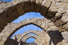 De oude Ruïnes van Caesarea Stock Foto