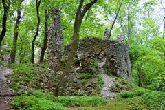 De oude ruïnes van het steenkasteel in bos hete de zomerdag Royalty-vrije Stock Afbeeldingen