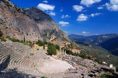 De oude ruïnes van Delphi, Parnassus bergen, Griekenland Royalty-vrije Stock Fotografie