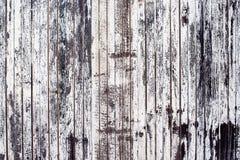 De oude rustieke houten plankmuur schilderde wit Stock Foto's