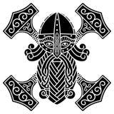 De oude Skandinavische God Thor en de Hamer Mjolnir royalty-vrije illustratie