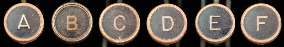 De oude Sleutels A-F van de Schrijfmachine Stock Foto's