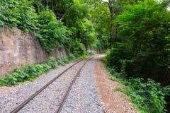 De oude spoorweg langs de geroepen klip en de boom Royalty-vrije Stock Fotografie