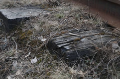 De oude spoorwegdwarsbalken Royalty-vrije Stock Foto's